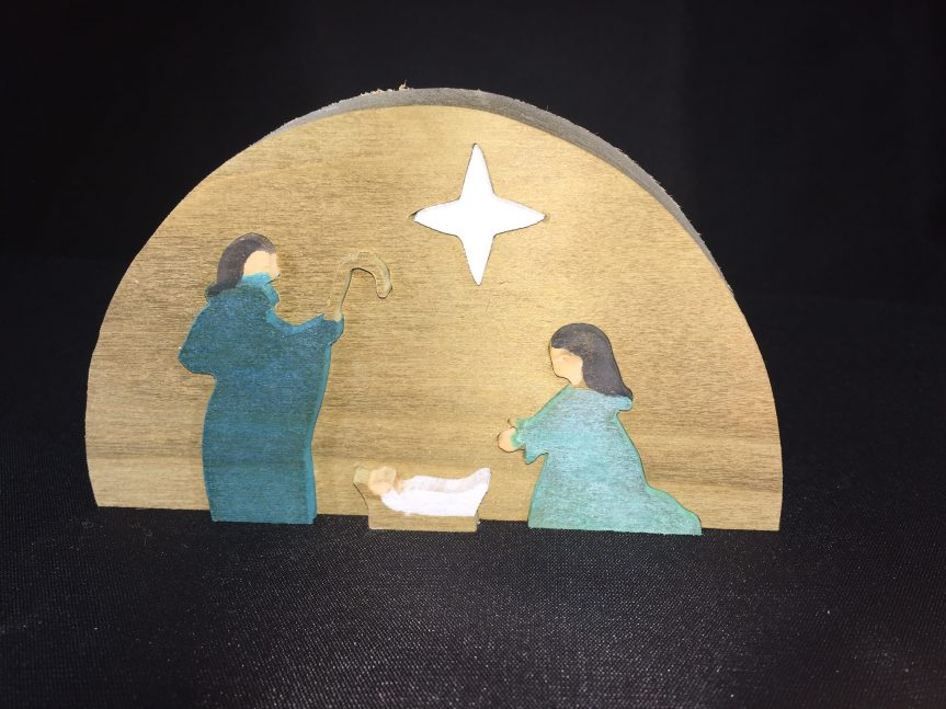 Half round scroll saw Manger Scene